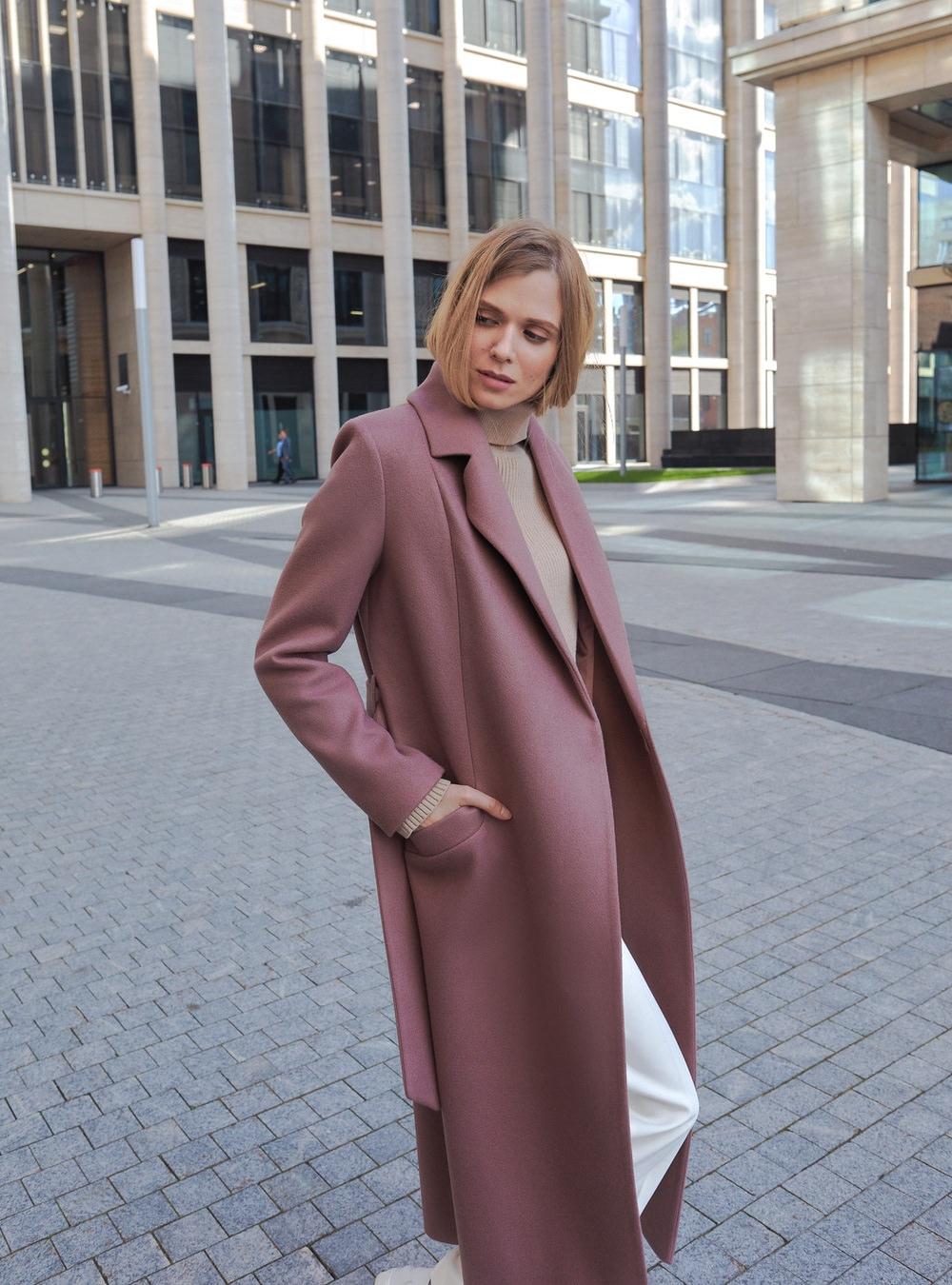 Пальто халат длинное розовый капучино
