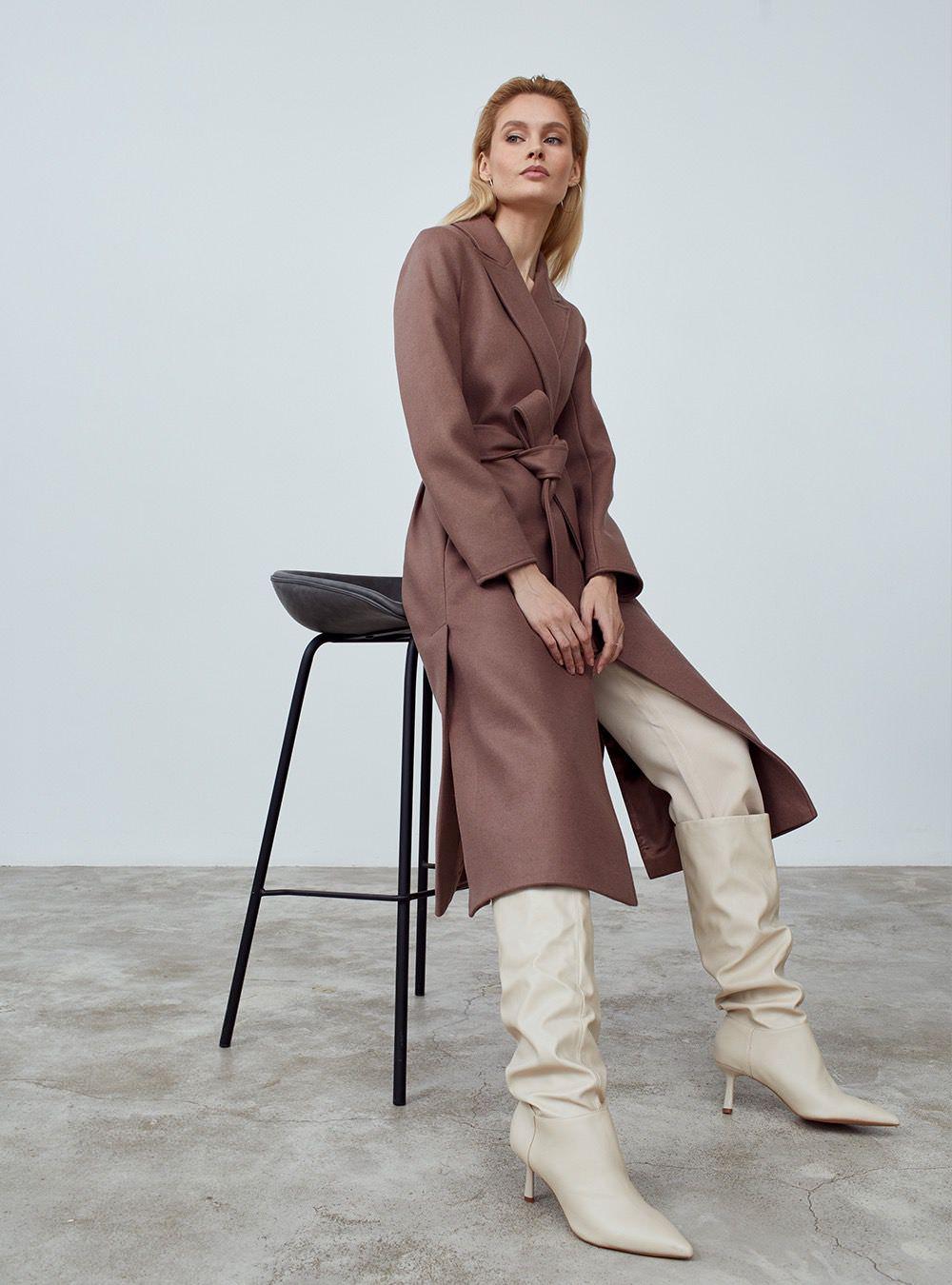 Удлиненное пальто с разрезами Капучино