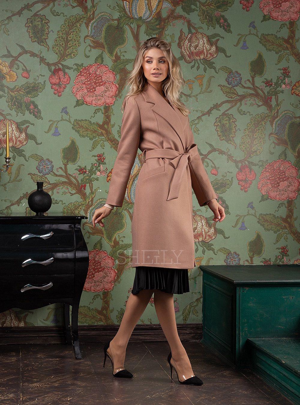 Пальто-халат укороченное темная пудра