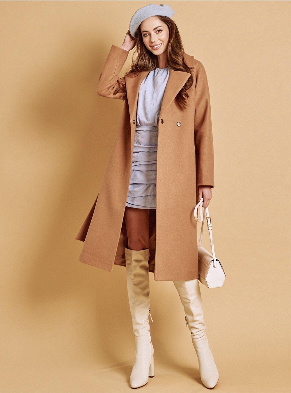 Пальто реглан кэмел