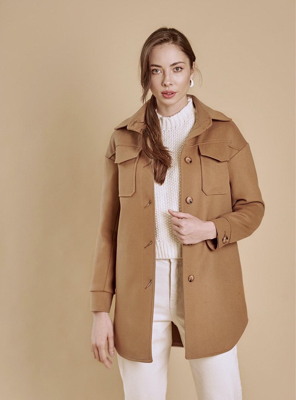 пальто-рубашка кэмел
