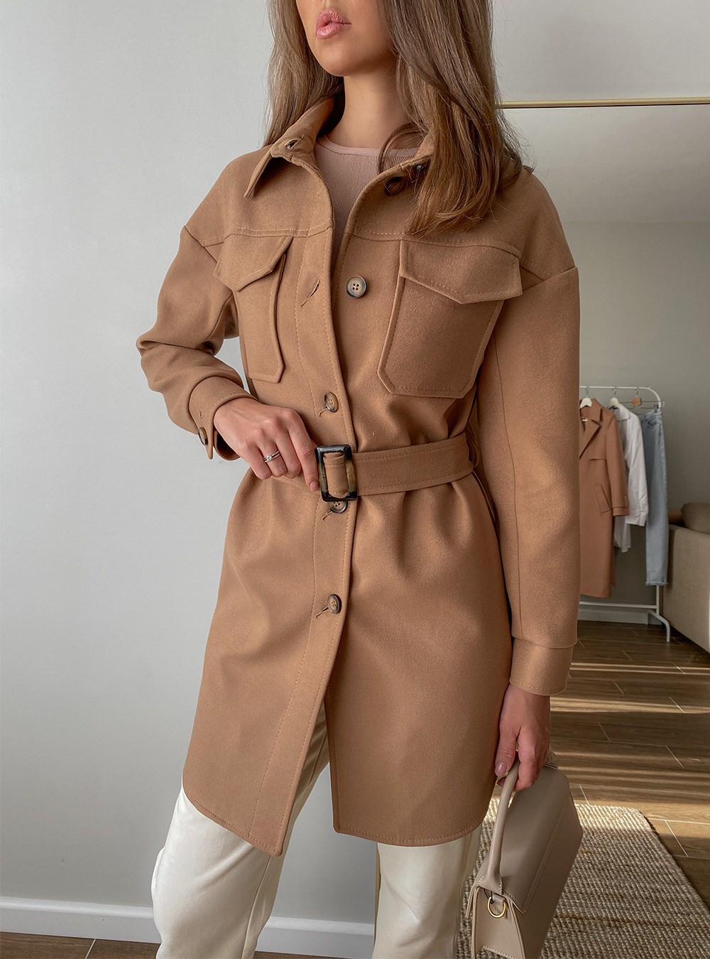 Пальто-рубашка на пуговицах Кэмел