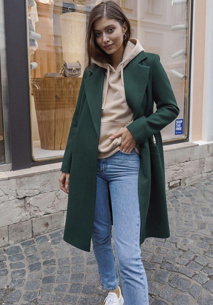Укороченное пальто халат измрудное