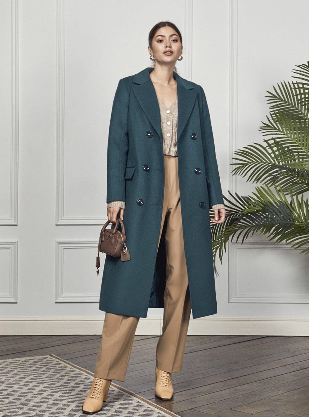 Двубортное изумрудное пальто