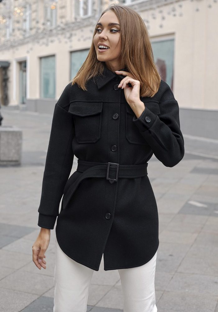 Черное пальто-рубашка