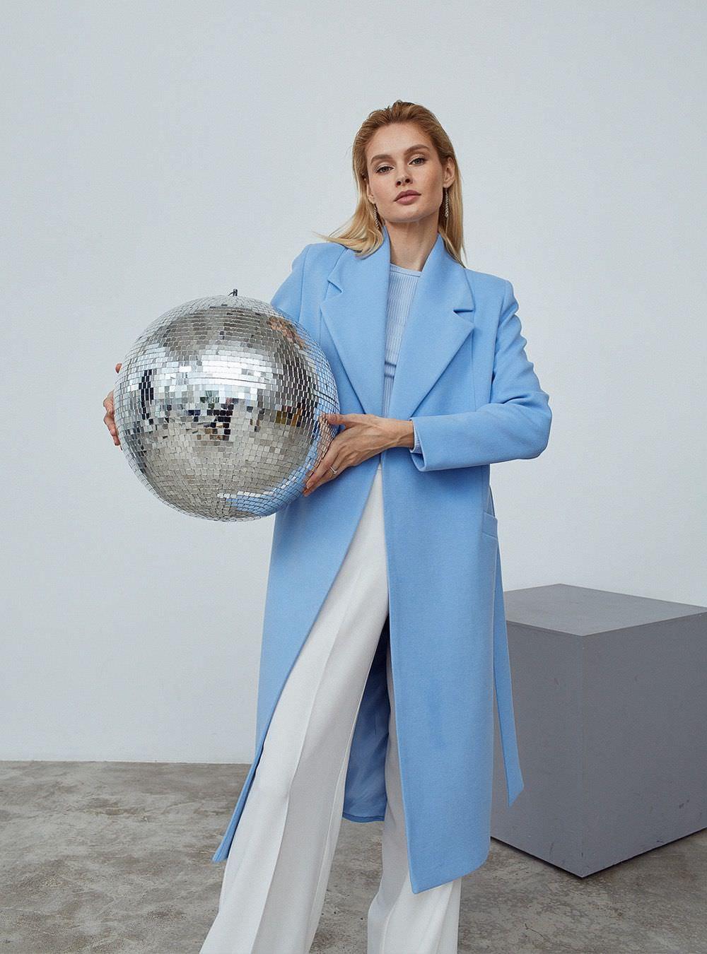 Пальто-халат Голубое удлиненное