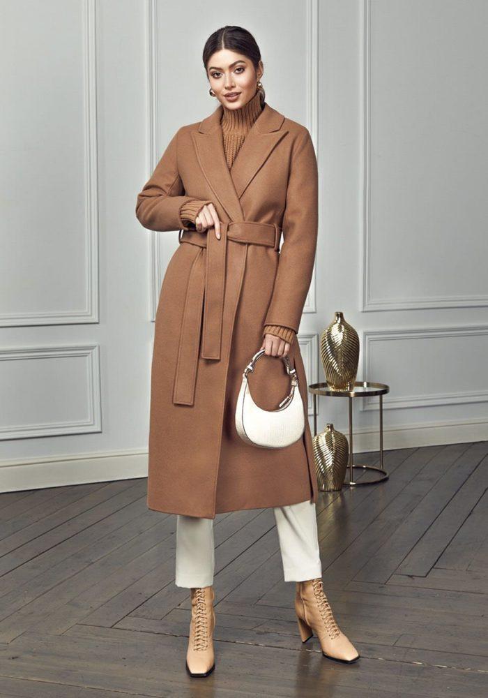 Удлиненное пальто с разрезами Кэмел