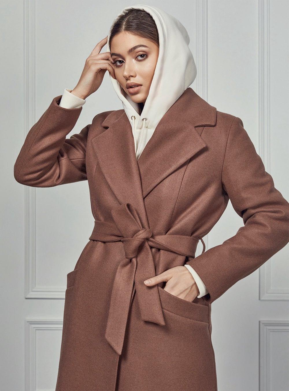 Пальто халат длинное капучино
