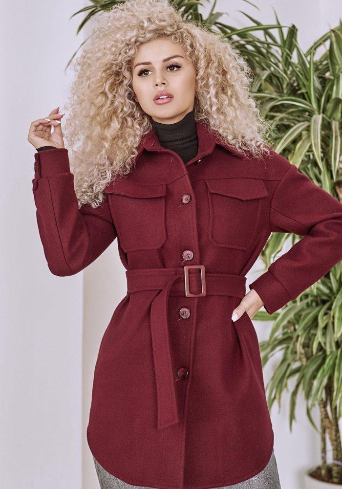 Пальто-рубашка бордо