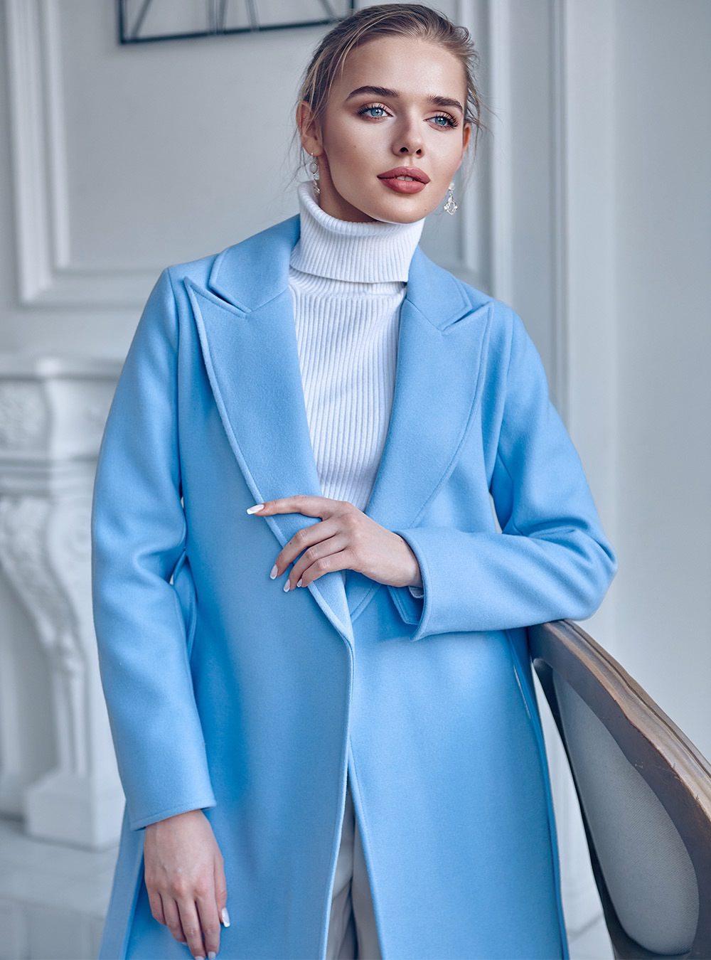Удлиненное пальто с разрезами Голубое