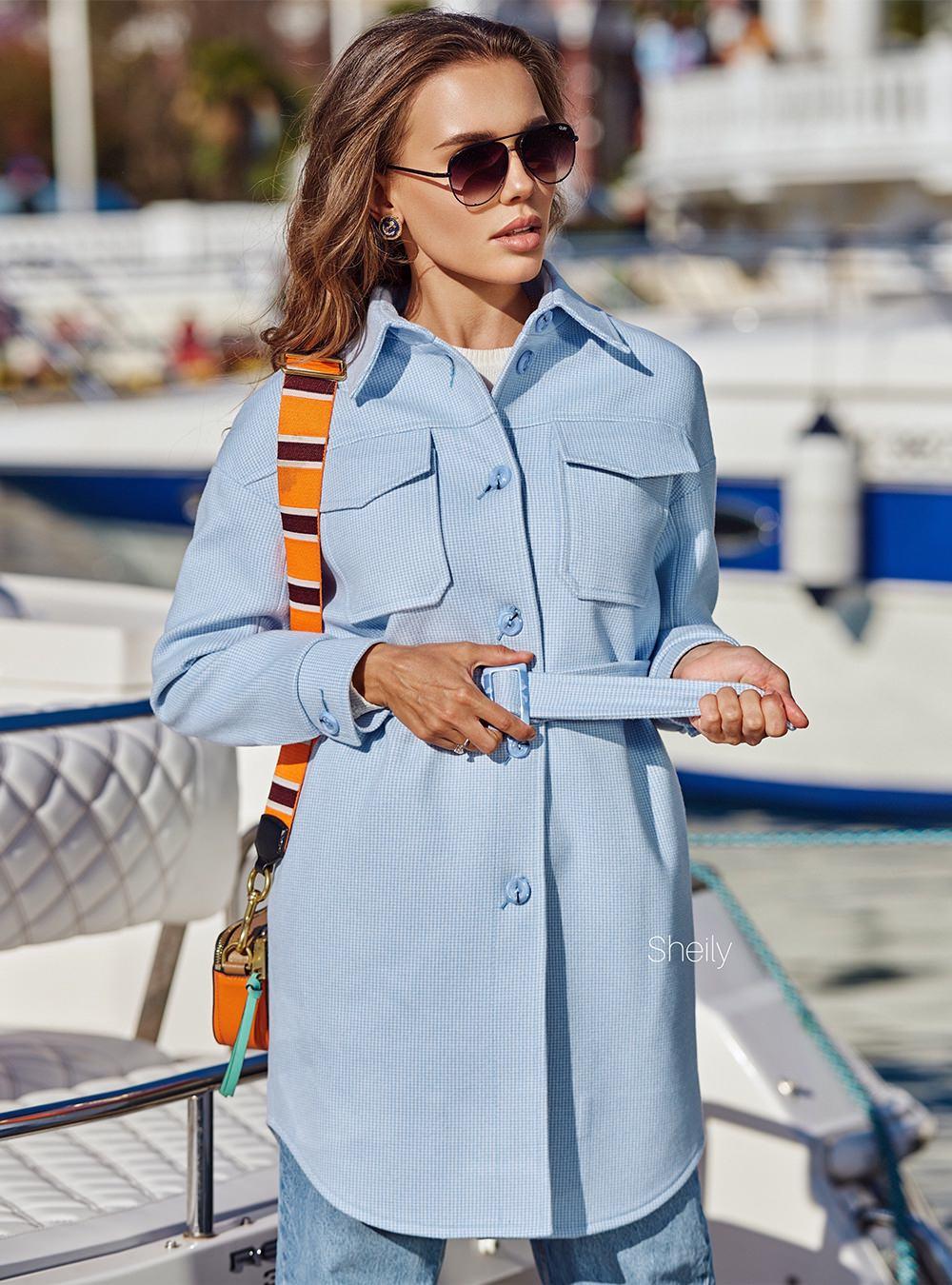 Пальто-рубашка голубая клетка