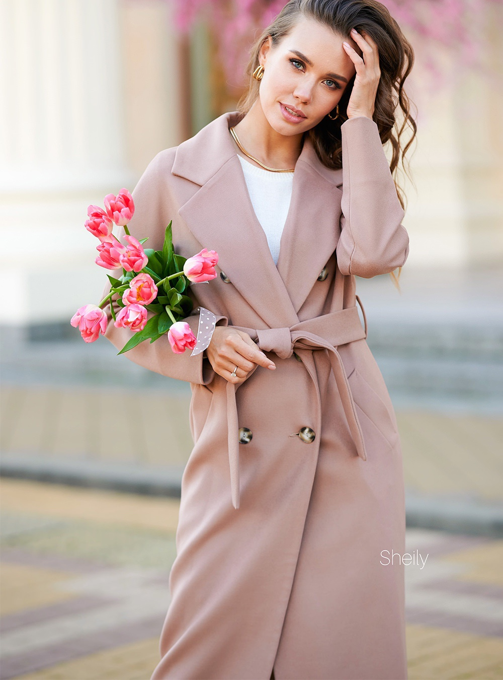 Пальто с цельнокройным рукавом Темная пудра
