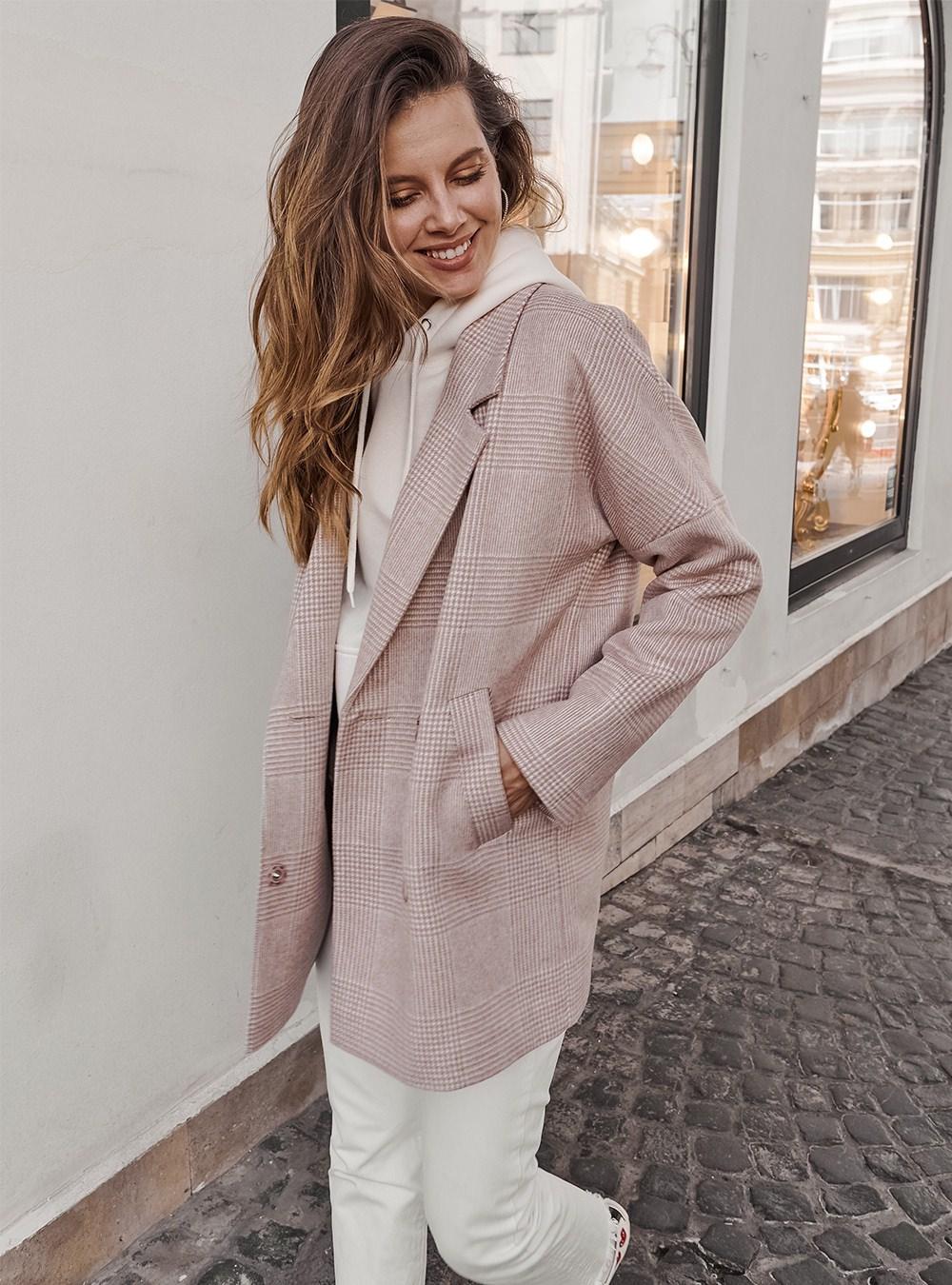 Пальто-пиджак бежевая клетка
