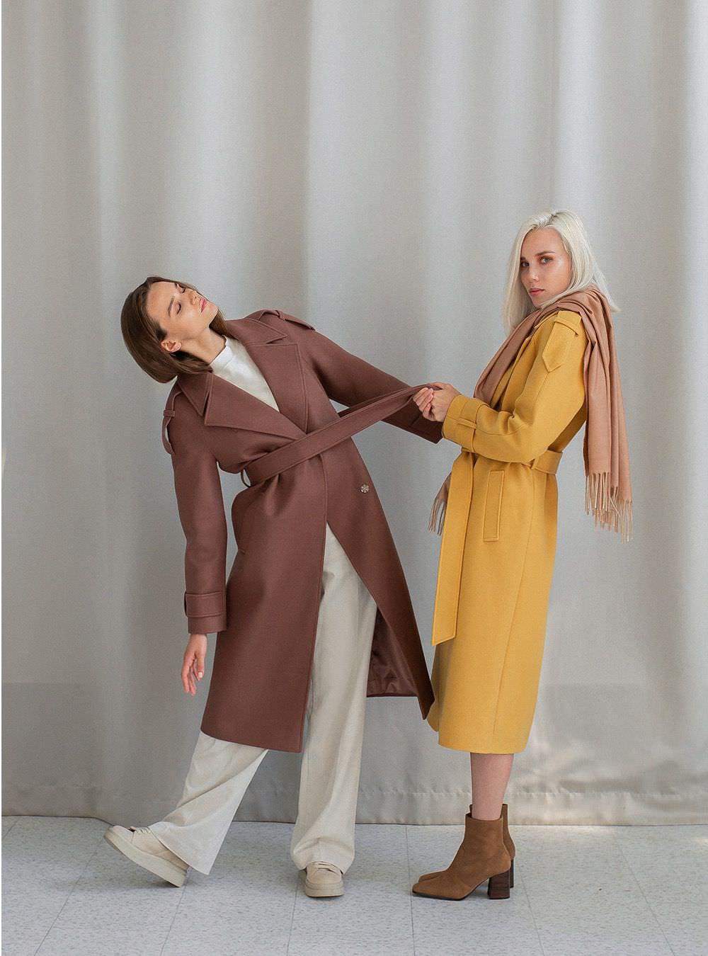 Пальто свободного кроя Горчичное